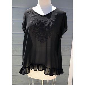 Torrid sheer ruffle bottom blouse